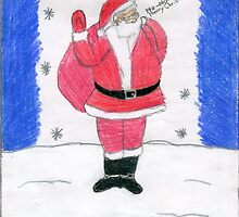 Santa Clause Standing By The Stars In The Snow by DKards