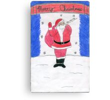 Santa Clause Standing By The Stars In The Snow Canvas Print