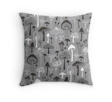 Mushrooms in Grey Throw Pillow