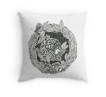 Pangolin's Dream Black and White Doodle Art Throw Pillow