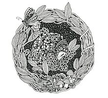 Pangolin's Dream Black and White Doodle Art Photographic Print
