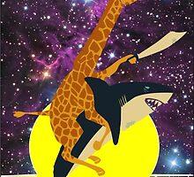 giraffe riding a shark on the moon by robinlemari
