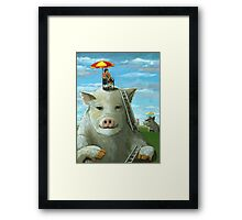 High on the Hog - surreal oil painting Framed Print