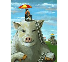 High on the Hog - surreal oil painting Photographic Print