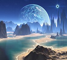 Planet-rise over Alien Beach World by SpinningAngel