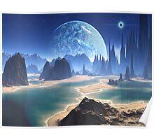 Planet-rise over Alien Beach World Poster
