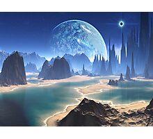 Planet-rise over Alien Beach World Photographic Print