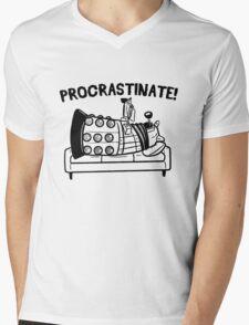 Procrastinate Robot Mens V-Neck T-Shirt