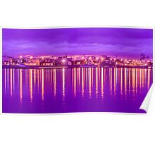 Reflection lights waterfront Poster