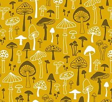 Mushrooms in Yellow by CajaDesign