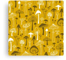Mushrooms in Yellow Canvas Print
