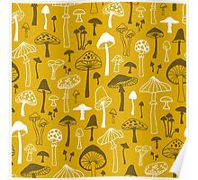Mushrooms in Yellow Poster