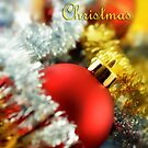 Christmas card with red bauble by Silvia Ganora