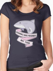 Sharks Are Friends - Not Food Women's Fitted Scoop T-Shirt