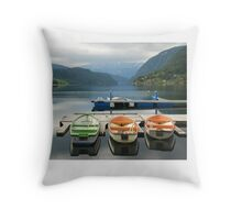 Rowboats in Ulvik - Norway Throw Pillow