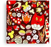 cartoon red cat Canvas Print