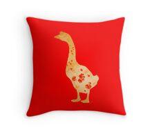 Poppy Print Goose on Red Background Throw Pillow