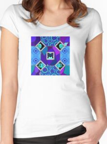 blue partchwork Women's Fitted Scoop T-Shirt