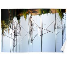 Abstract Reeds a Triangular Reflection Poster