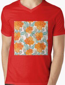 Brush Flower Mens V-Neck T-Shirt
