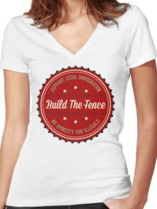 Build The Fence Women's Fitted V-Neck T-Shirt