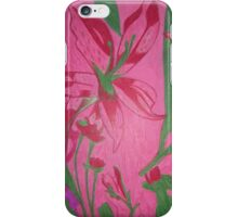 Retro flowers with a pink background iPhone Case/Skin