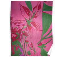 Retro flowers with a pink background Poster