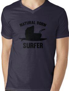 Natural Born Surfer Mens V-Neck T-Shirt