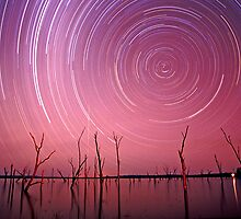 Star and meteorite trails, Lake Nuga Nuga, Arcadia Valley by Robert Ashdown