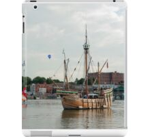 Bristol UK  Replica of the Matthew, a ship sailed by John Cabot to the new world. Beyond balloons from the Fiesta. iPad Case/Skin