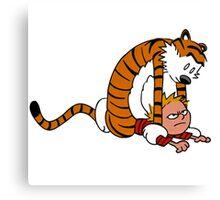 Calvin & Hobbes,Street Fighter Canvas Print