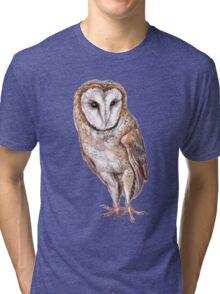 Barn owl drawing Tri-blend T-Shirt