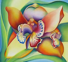Orchid with personal interpretations by Liesbeth  Pockett