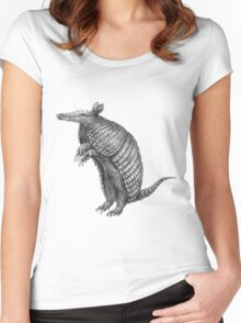 Pencil drawn armadillo Women's Fitted Scoop T-Shirt