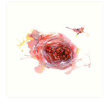 Watercolor illustration of wild strawberry Art Print