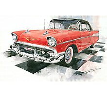 Red Chevrolet 1957 Photographic Print