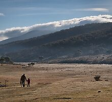Snowy Mountains Cowboy & Daughter by Leigh Nelson