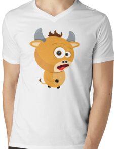Cartoon Ox Mens V-Neck T-Shirt