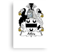 Coat of arms (family crest) for last-name or surname Atley . Heraldry banner for your name. Canvas Print