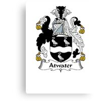 Coat of arms (family crest) for last-name or surname Atwater . Heraldry banner for your name. Canvas Print