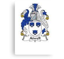 Coat of arms (family crest) for last-name or surname Atwell . Heraldry banner for your name. Canvas Print