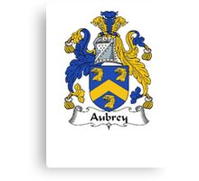 Coat of arms (family crest) for last-name or surname Aubrey . Heraldry banner for your name. Canvas Print