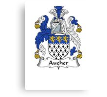 Coat of arms (family crest) for last-name or surname Aucher . Heraldry banner for your name. Canvas Print