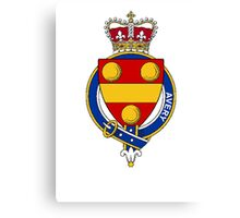 Coat of arms (family crest) for last-name or surname Avery (England) . Heraldry banner for your name. Canvas Print