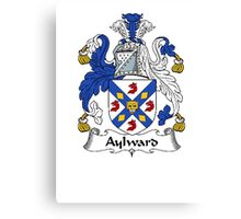 Coat of arms (family crest) for last-name or surname Aylward . Heraldry banner for your name. Canvas Print