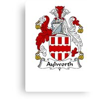 Coat of arms (family crest) for last-name or surname Aylworth . Heraldry banner for your name. Canvas Print
