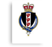 Coat of arms (family crest) for last-name or surname Babcock (England) . Heraldry banner for your name. Canvas Print