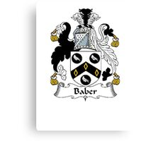 Coat of arms (family crest) for last-name or surname Baber . Heraldry banner for your name. Canvas Print