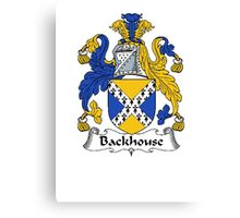 Coat of arms (family crest) for last-name or surname Backhouse . Heraldry banner for your name. Canvas Print