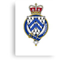 Coat of arms (family crest) for last-name or surname Baggett or Bagot (England) . Heraldry banner for your name. Canvas Print